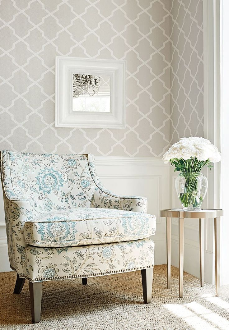 Thibaut wallpaper Carolyn Trellis in Flax from the Caravan Collection.