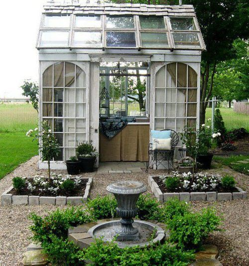 A greenhouse potting shed built from reclaimed materials ~ beautiful