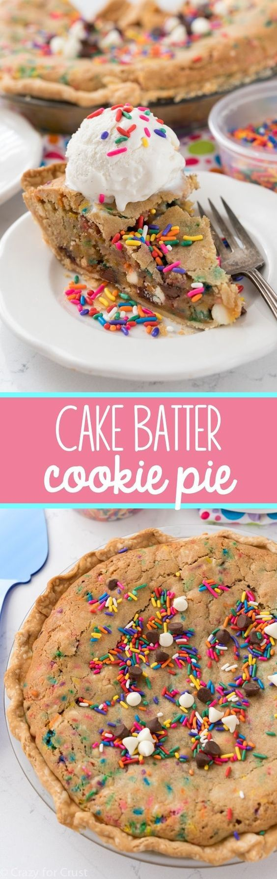 This Cake Batter Cookie Pie recipe couldn't be easier to make! It's a giant cake batter cookie in a pie crust. We couldn't stop eating this pie!