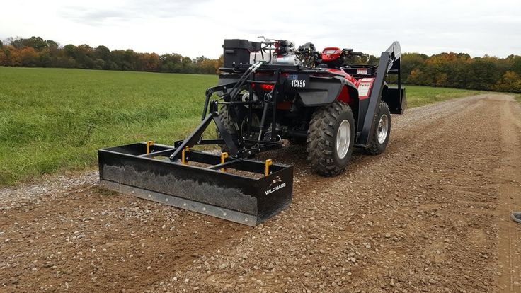 ATV hydraulic box blade grader.  ATV hydraulic Box Blade Grader attaches to your ATV Quad bike to break through compacted soil and rip and scrape surfaces to level and backfill.  Perfect for levelling driveways, gravel roads and land maintenance. For more info: http://www.fresh-group.com/atv-hydraulic-box-blade-grader.html