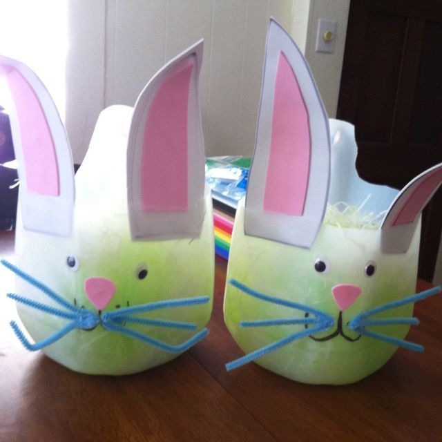 Milk Jug Bunnies  SUPPLIES -milk jug (washed out) -foam paper or construction paper for bunny ears, nose -googly eyes -pipe cleaner for whiskers and bunny tail -hot glue, tape, or regular glue  First you will need to cut off the top of your milk jug, for younger children, you will want to do this for them. Next step, prepare the bunny ears. You can draw your own shape or use printable bunny ears. You will want to use a heavier paper like construction paper or other scraps to allow for the…