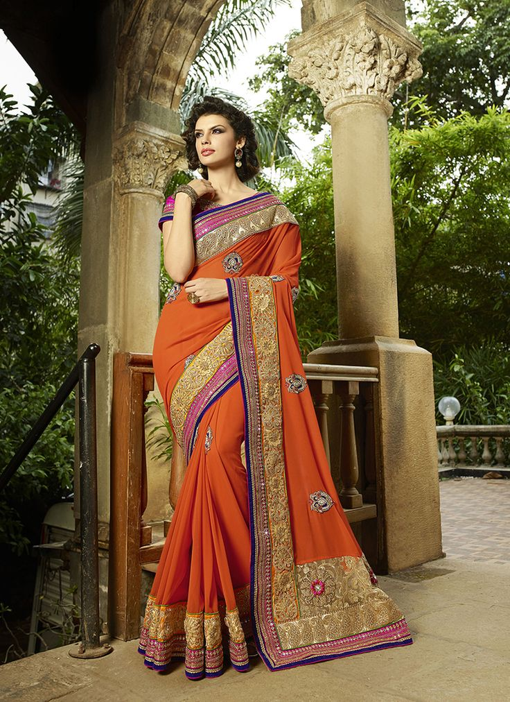 #orange Colour #Net & #Georgette #Saree. Lovely #floral #embroidery and #exotic #colours come together to define this #beautiful #saree.  Contact to Buy : +91-9377111620