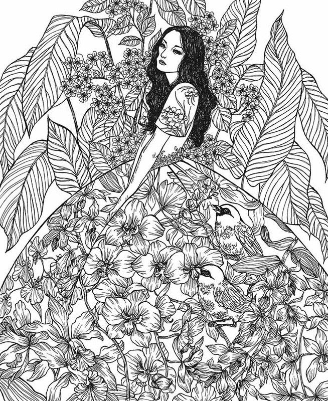 Moon Blossoms Ot Katrina Pallon Color Drawing Art Cool Coloring Pages Fairy Coloring Pages