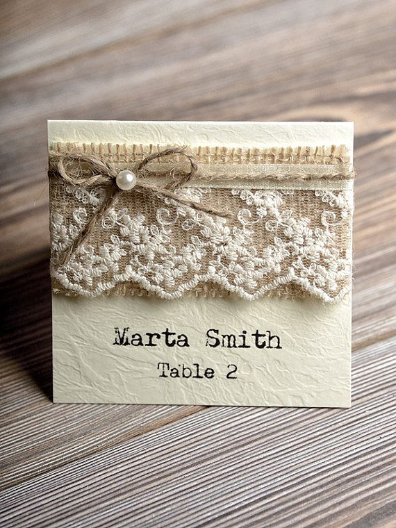 Place Cards, Tented Place Cards,  Lace Escort Card, Name Card, Burlap Place Cards, Twine Escort Card
