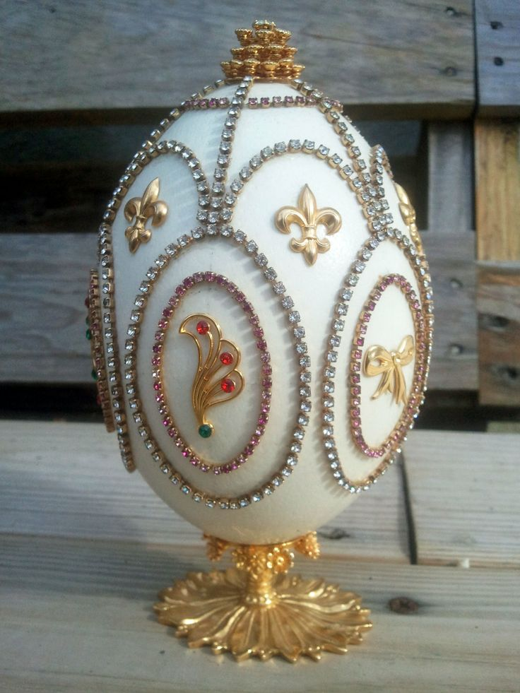 Jeweled eggs | ... Egg - Gold Plated - Jeweled - Ostrich Egg - OOAK - Colorful Egg - Gold