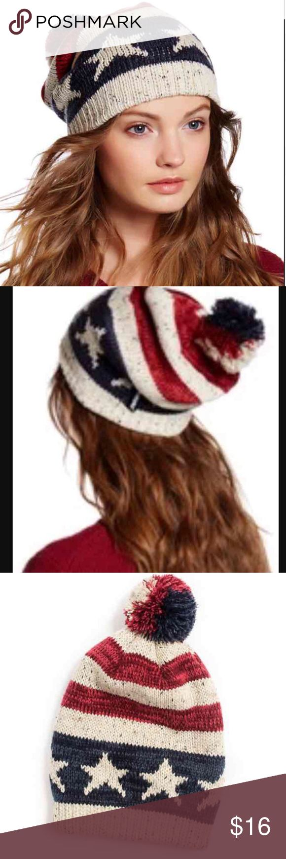 MUK LUKS Americana Pompom Beanie Lodge-worthy details define the outdoor-bound style of this beanie, knit from an ultrasoft textile. With this cute American flag beanie, you can show your patriotism and stay cozy while doing it. One size fits most.  100% acrylic Machine wash; dry flat. Price firm. Muk Luks Accessories Hats