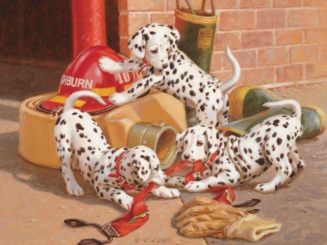 Rodinné puzzle COBBLE HILL 54577J. Lamb: Dalmatini v hasičské stanici 400 dílků