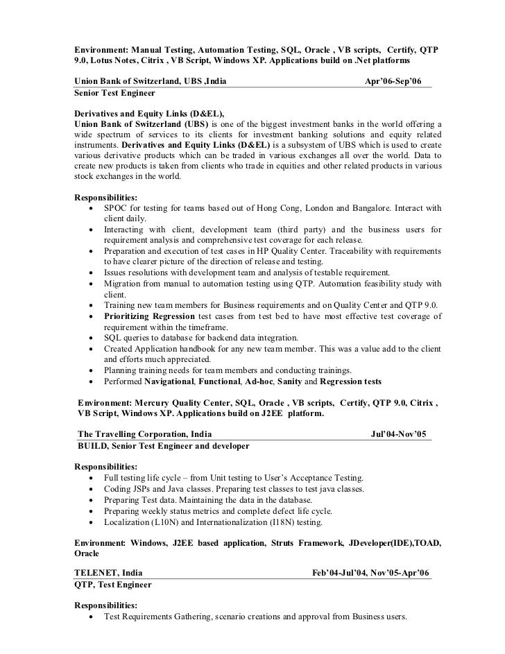 Resume Templates For Qa Lead Resume Templates Sample Resume Manual Testing Resume Templates