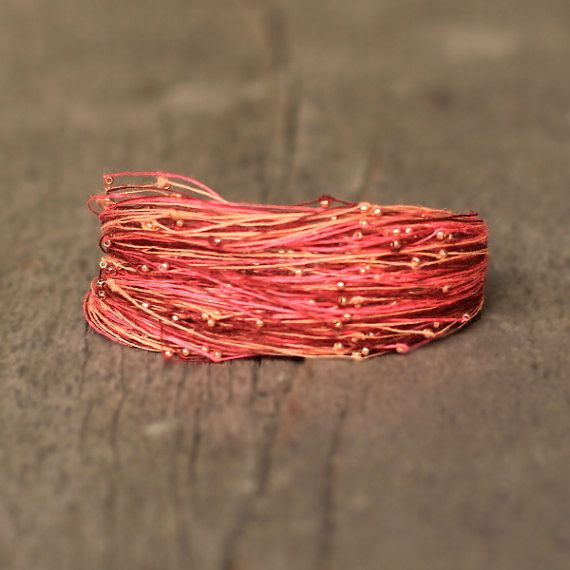 Pink Peach and Rose Gold Bracelet Multi Strand by Naryajewelry