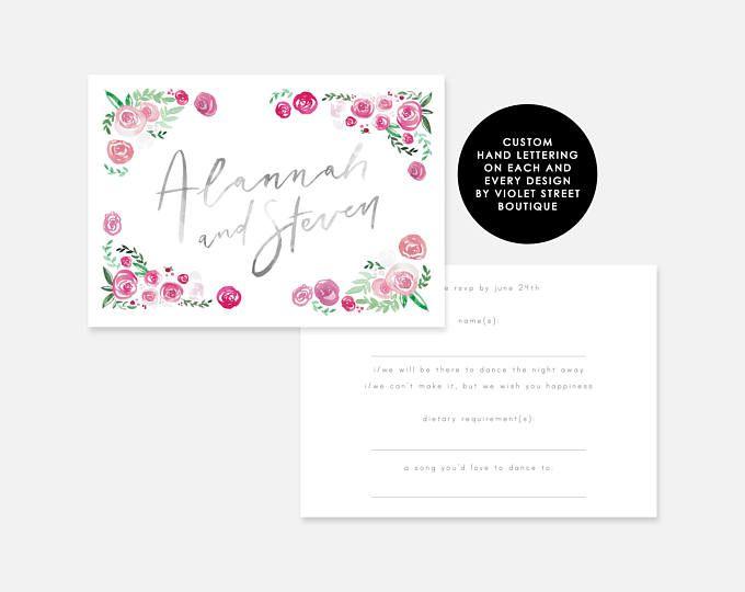 Printable Double Sided RSVP Floral RSVP Green Pink Flowers Grey Wedding Invitation RSVP Card Element Wedding Element Berry Floral Card