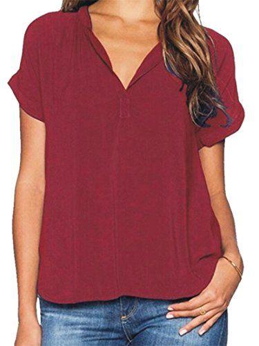 b37ef0d731bae0 Lutratocro Womens Plus Size V-Neck Short Sleeve T-Shirts Tops Chiffon  Blouses