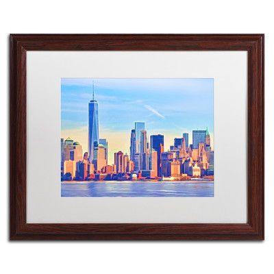 Trademark Art 'Skyline Manhattan' by Adam Kadmos Framed Painting Print Size: 1