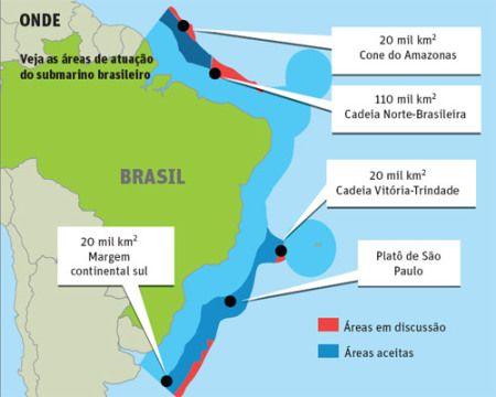 ZEE - Zona Econômica Exclusiva do Brasil - faixa das 200 milhas e de 350 milhas na plataforma continental