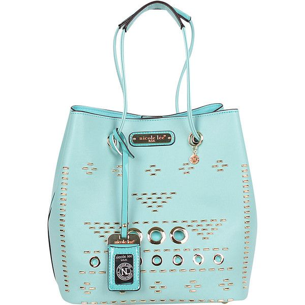 Nicole Lee Acalia Gold-Tone Embellish Bucket Shoulder Bag - Blue -... ($62) ❤ liked on Polyvore featuring bags, handbags, shoulder bags, chain shoulder bag, bucket purse, shoulder strap handbags, bucket shoulder bag and zip pouch