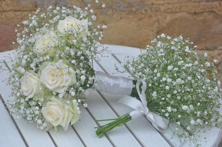 Flowers = Baby's Breath (Gypsophilia), Roses, Carnations.