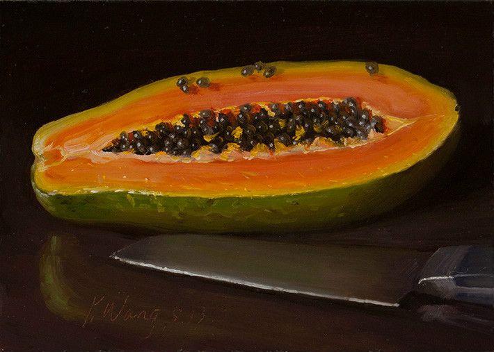 Papaya Original Daily Painting A Day Still Life Fruit Kitchen Realism 5x7 Y  Wang | EBay