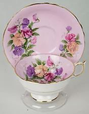 buy eyeglasses Vintage Paragon Sweet Pea Flower on Pink Tea Cup and Saucer   England