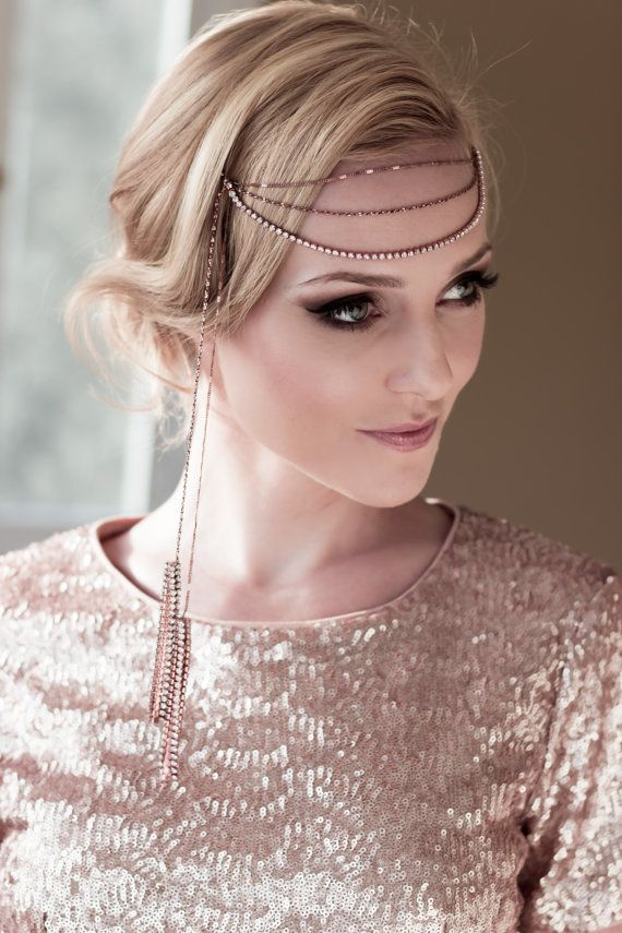 Art Deco Bridal Demi Headwrap with Rose Gold by veiledbeauty