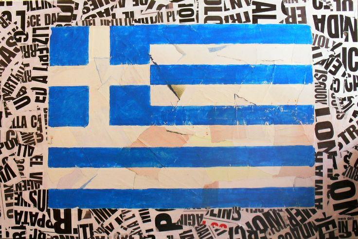 Enrico Bacci Grecia Collage e pittura su tela cm 50x70