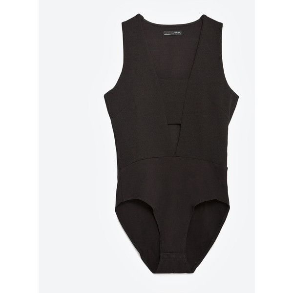 Zara Fashion Cut Out Bodysuit ($26) ❤ liked on Polyvore featuring intimates, shapewear and black