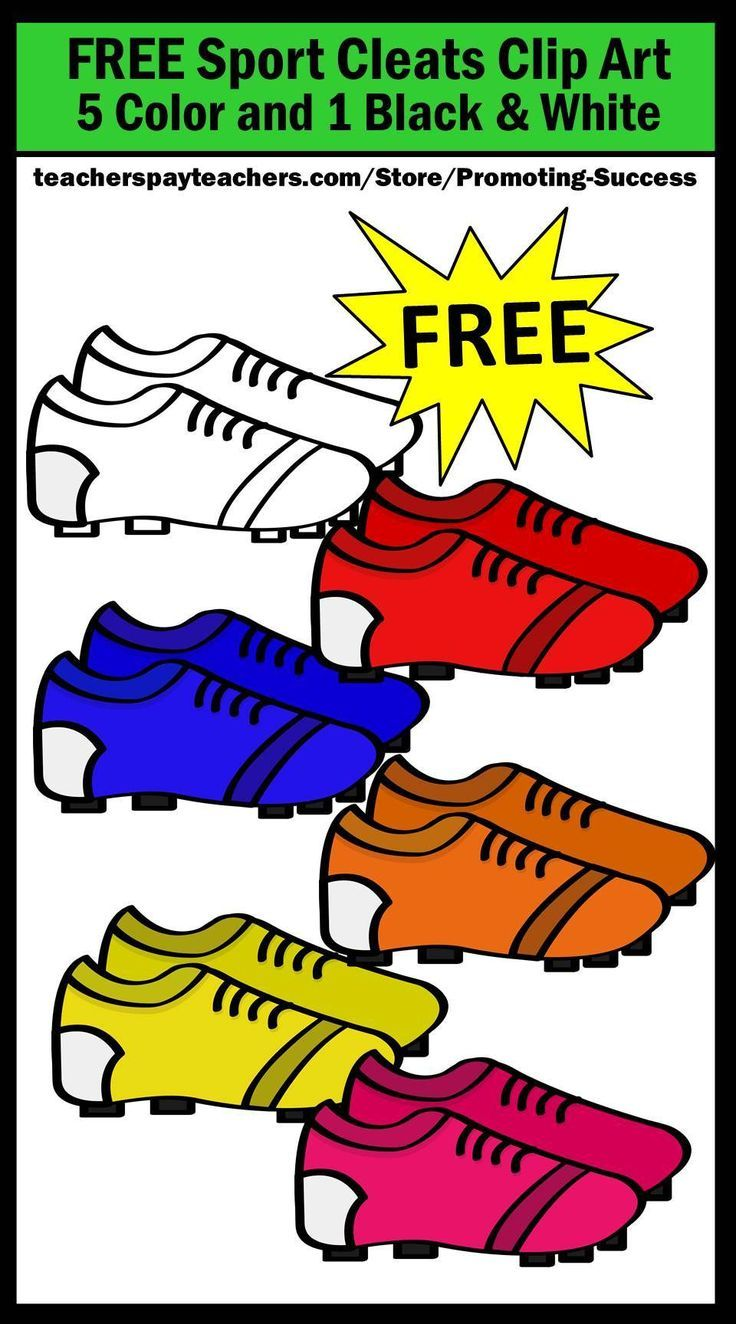 Teachers will download six FREE sports cleats clipart images. These graphics work well for sports activities, including football, soccer, baseball, golf and more. Use them for bulletin boards, labels, interactive notebooks, foldables and other projects. Kids love cute clip art! Teachers may use these graphics in their classrooms for personal or commercial use.