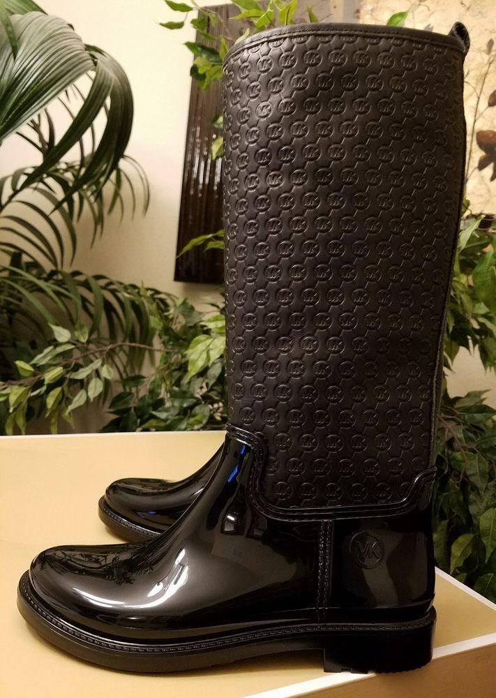 7ecf84c86f3 Michael Kors Blakely Women s Logo Embossed Tall Rain Boots Sz 8 Black  THESPOT917