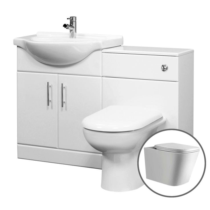 Tudelia Fitted Bathroom Furniture   1015mm Gloss White Suite Unit With  Toilet And Basin Part 78
