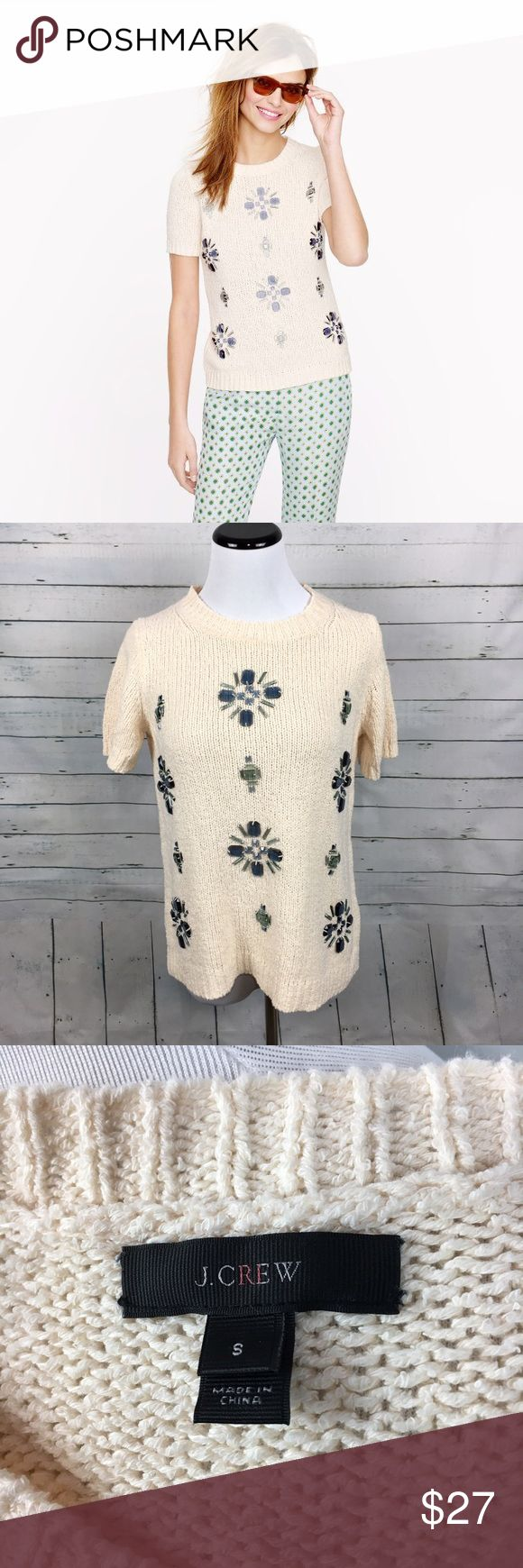"J.Crew Jeweled Medallion Sweater cream short Women's J.crew jeweled medallion sweater size small. beautiful cream color.  some of the jewels coming loose. please see photos.  armpit to armpit-20"" overall length-26"" J. Crew Sweaters"