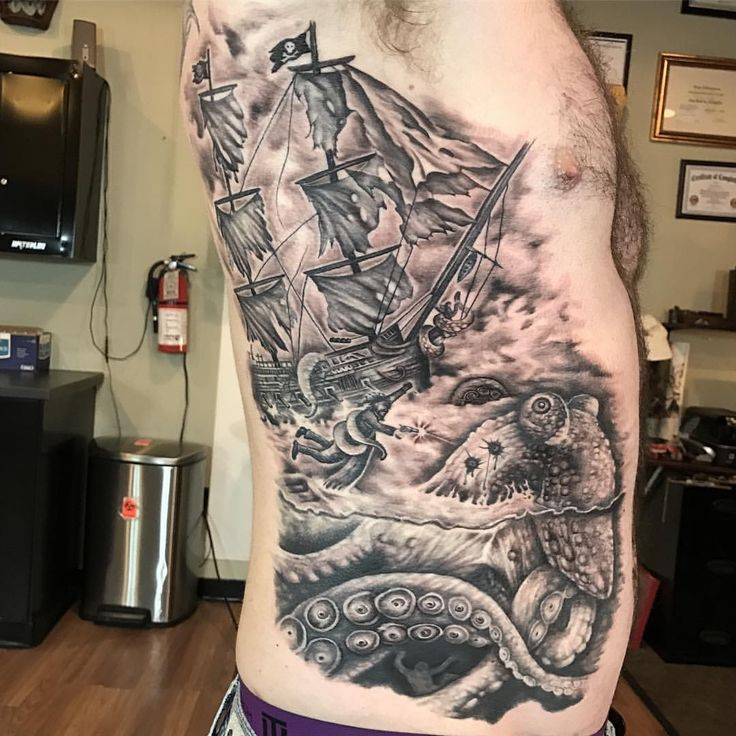 Kraken tattoo on side by Omar from the Truth Tattoos