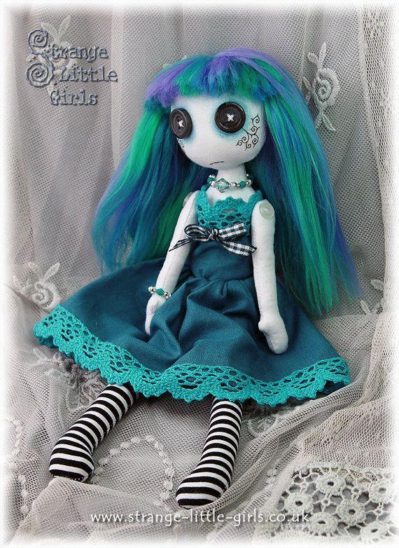 10 inch button eyed cloth art doll  Tara Topaz by StrangeLittleGirlsUK