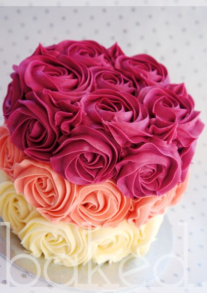 Cake Images Rose : Buttercream roses, Ombre and Rose cake on Pinterest