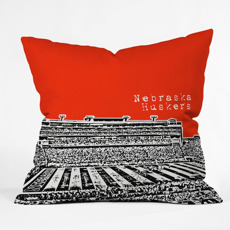 bird ave nebraska huskers red throw pillow