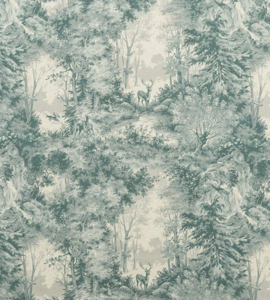 Torridon Linen Fabric A large design printed linen fabric with deer and stag in woodland setting, shown in soft teal.