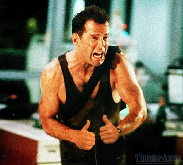 """""""Die Hard""""   Famous Gun Scenes From Movies Replaced With ThumbsUp   Thumbs & Ammo"""