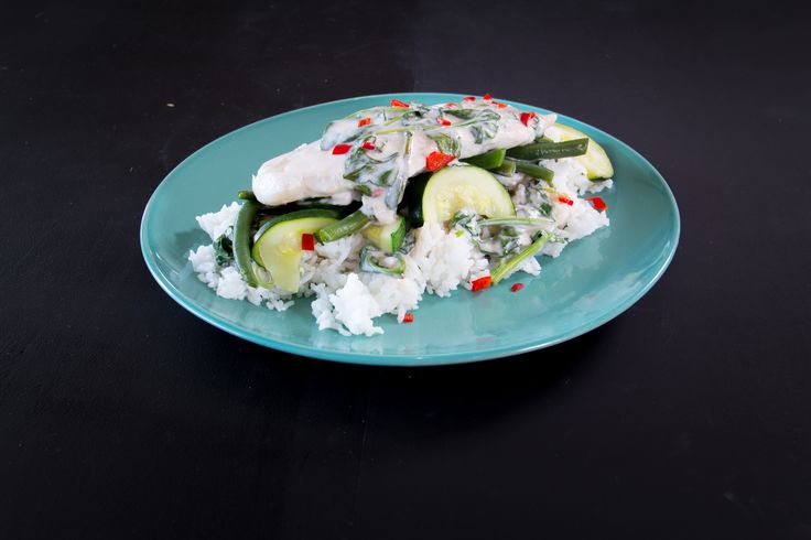 Barramundi Cooked in Coconut Cream with Steamed Green Vegetables and Fresh Chilli