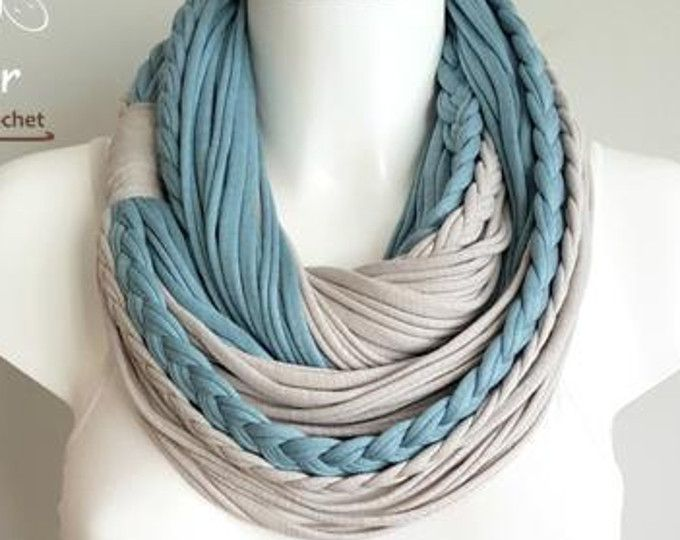 Handmade t-shirt infinity scarf. Made of high quality 3 shades of grey and white cotton fabrics. The scarf is very light and very soft on the neck. Can be worn long or folded. For cleaning, wash by hand or on a gentle program in a washing machine and dry naturaly.  Size: approx. 27.1 long Please feel free to contact me for any question.