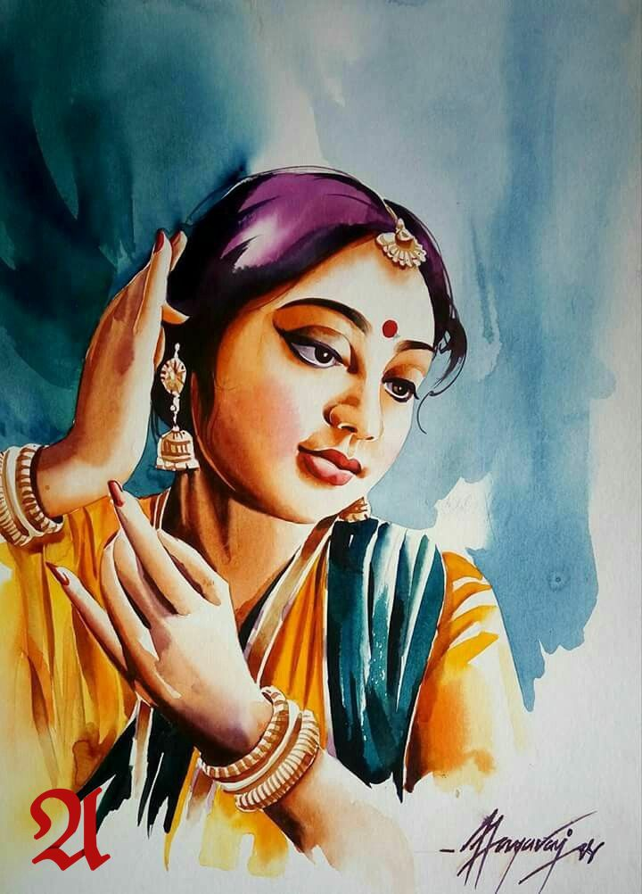 Indian Women Painting Tanfes Indian Art Gallery Watercolor