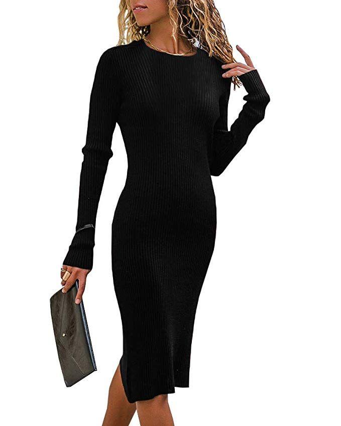 752bb00560 Valphsio Women s Long Sleeve Crew Neck Slim Knit Sweater Bodycon Midi Dress