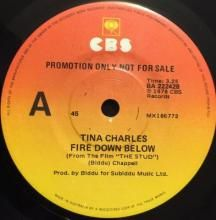 FIRE DOWN BELOW (FROM THE FILM 'THE STUD') / WITH MY HEAD IN THE CLOUDS ~ TINA CHARLES 7 inch single $15.00 AUD