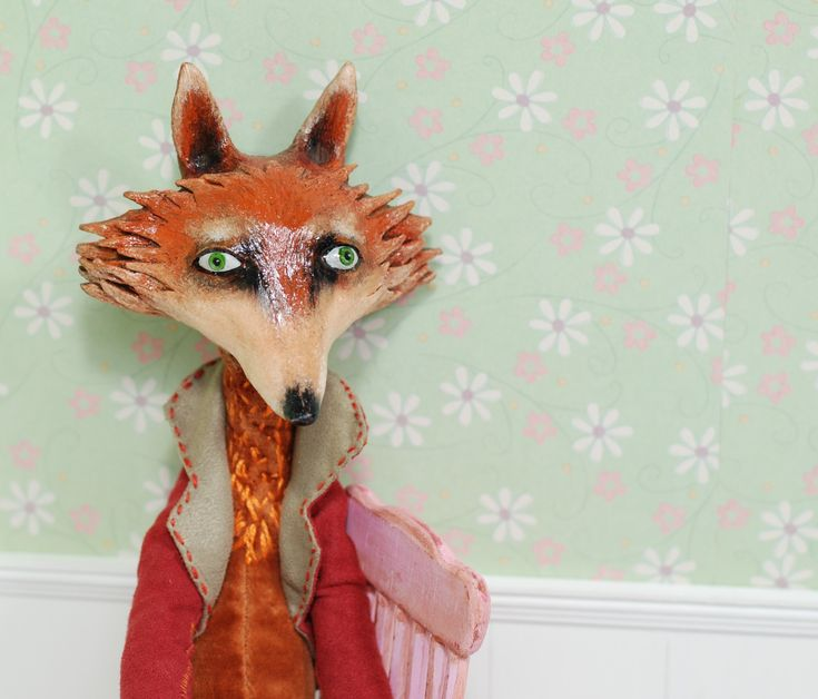 290$ + shipping, Fox name Foksik made by ART Elena Ovcharova, (ceramics), art doll ooak