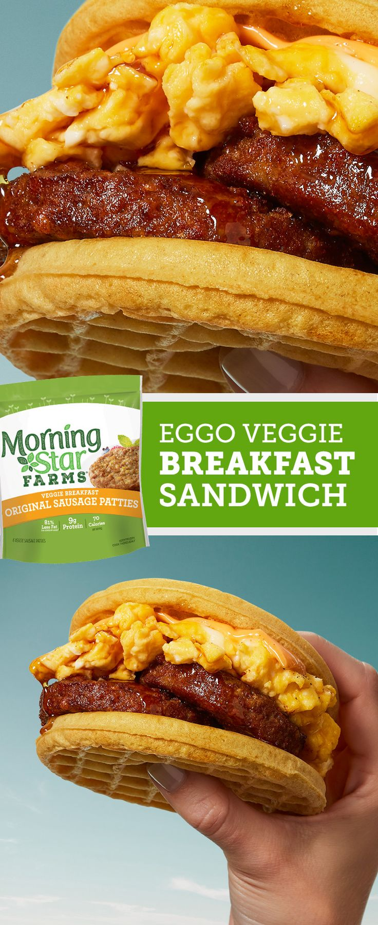 Try this easy, on-the-go breakfast recipe featuring our delicious, savory veggie sausage sandwiched between two Eggo waffles. Serving size 1 patty.