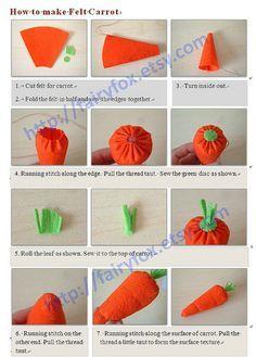 How to make felt carrot by fairyfox, via Flickr
