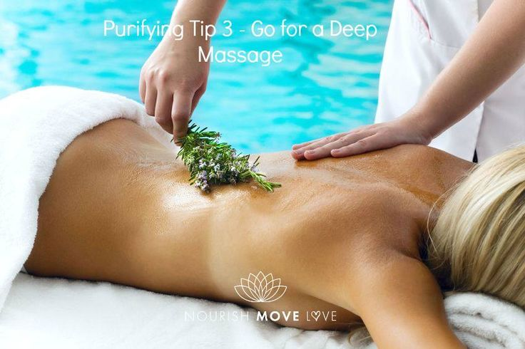 A typical Swedish massage is good, but something more intense and focused like a Sports massage can work even better.  You want to get deep into the muscle tissue to make this work for you. When you push on these pressure points or spots where toxins tend to build up, then you give them a chance to release. This helps you to naturally detox the body.