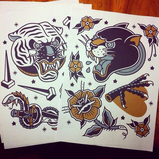 Tiger and jaguar tattoo design
