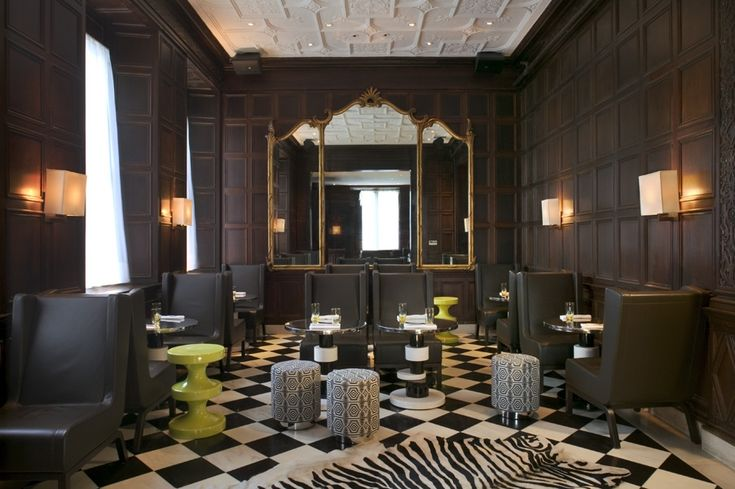 Connaught by india mahdavi — painted panelling black white and colour