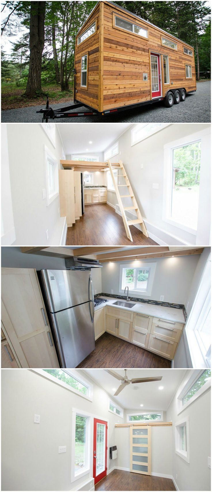 The Whisky Jack is an amazing tiny house built by Rewild Homes. The tiny house uses materials sourced from Vancouver Island and all of their homes are built using sustainable practices. They enjoy supporting local businesses to help the local economy and keep their footprint as small as possible. The kitchen has a full size refrigerator, five-burner stove and a nice pantry space. #tinyhomekitchenisland
