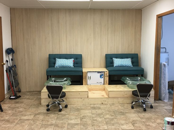 custom pedicure platform in the works! Dad and Husband built it, it's amazing! Teal bench chairs from overstock.com pedicure tubs from meridianspas.com