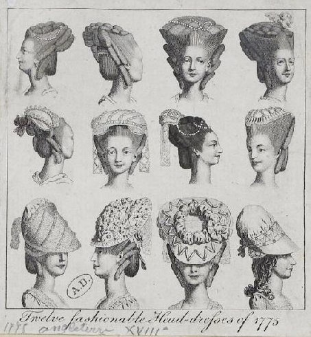 1775 - 12 Fashionable Head Dresses of 1775