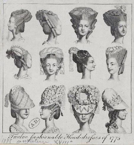1775 - 12 Fashionable Head Dresses of 1775