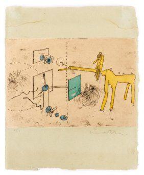 R. Matta Signed Aquatint- Untitled: Alain Bosquet : Lot 932